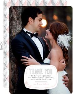 Pink Modern Geometric Pattern Wedding Thank You Card