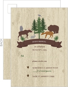 Woodgrain Animals Wedding Response Card