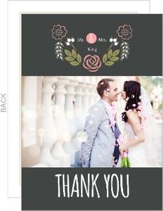 Garden Blossoms Wedding Thank You Card