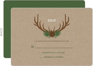 Brown Rustic Antlers Wedding Response Card