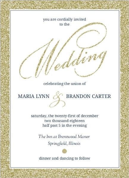faux elegant gold glitter wedding invitation - Gold Glitter Wedding Invitations