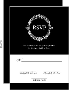 Elegant White Monogram Wedding Response Card