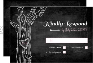 Rustic Chalkboard Tree Wedding Response Card