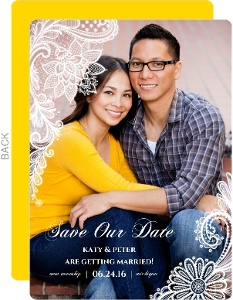 White Lace Frame Save The Date Card