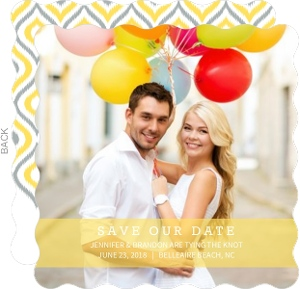 Chic Yellow Ikat Save The Date Card