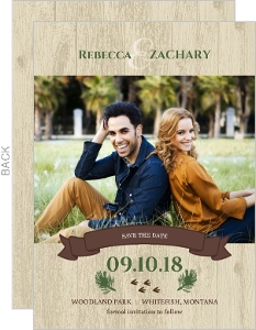 Woodgrain Animals Save The Date Card