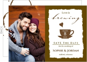 Coffee Stain A Perfect Blend Save The Date Card