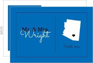 Modern State Heart Wedding Thank You Card