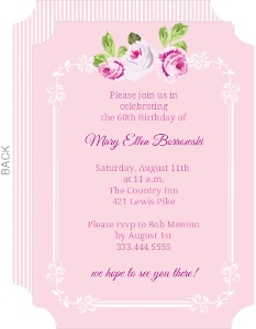 Pink Floral Sixtieth Birthday Invite