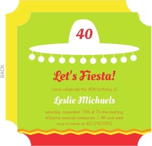 Sombrero Silhouette 40th Birthday Invitation