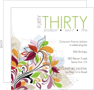 Bright Flowers 30th Birthday Invitation