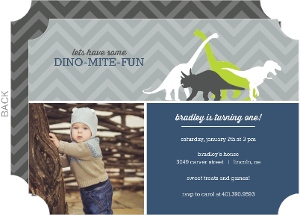 Dinosaur Green and Navy 1st Birthday Invitation