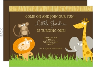 Brown Safari Animals 1st Birthday Invitation