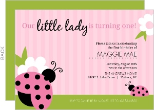 Lady Bug Green and Pink 1st Birthday Invitation