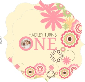 Pink Cream Flowers 1st Birthday Invitation