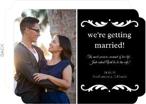 Black White Swirl Frame Engagement Announcement