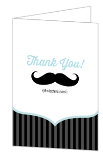 Blue Black Moustache Baby Thank You Card