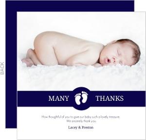 Navy White Stripes Baby Thank You Card