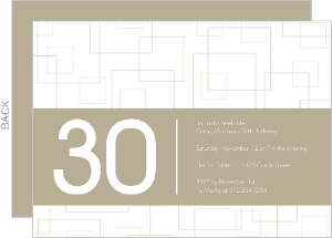 Taupe Squares 30th Birthday Invitation