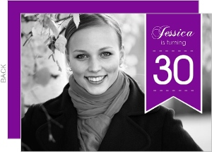 Purple Banner Photo 30th Birthday Invitation
