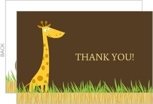 Safari Animals Baby Thank You Card