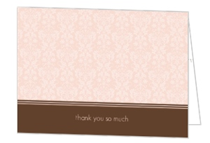 Elegant Damask Baby Thank You Card