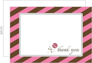 Pink Brown Stripes Baby Thank You Card