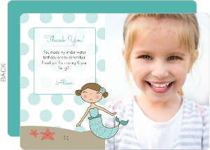 Blue Mermaid Dots Birthday Thank You Card