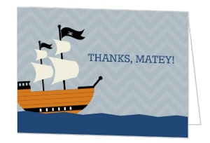 Gray Chevron Pirate Ship Birthday Thank You Card