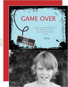 Gamer Kids Birthday Thank You Card
