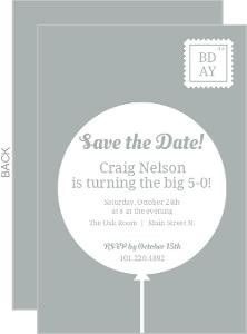 Grey Balloon Postcard 50th Birthday Invitation