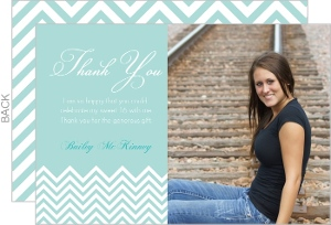 Light Blue Chevron Birthday Thank You Card