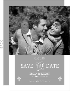 Gray Whimsical Accents Save the Date Announcement