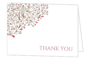 Pink Floral Birthday Thank You Card