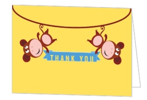Hanging Monkeys Birthday Thank You Card