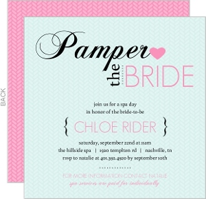 Attractive Pink And Blue Spa Bridal Shower Invitation