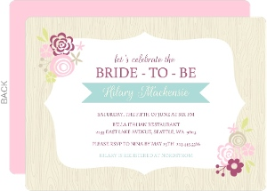 Frame Floral Woodgrain Background Bridal Shower Invitation