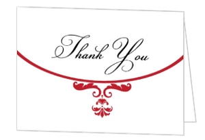 Classic Red and White Elegance Anniversary Thank You Card