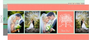 Floral Mint and Coral Wedding Thank You Cards