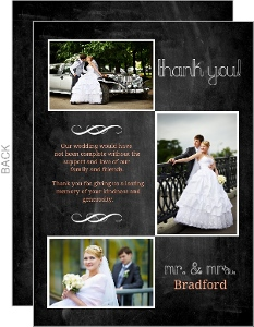Chalkboard White and Peach Accents Wedding Thank You Card