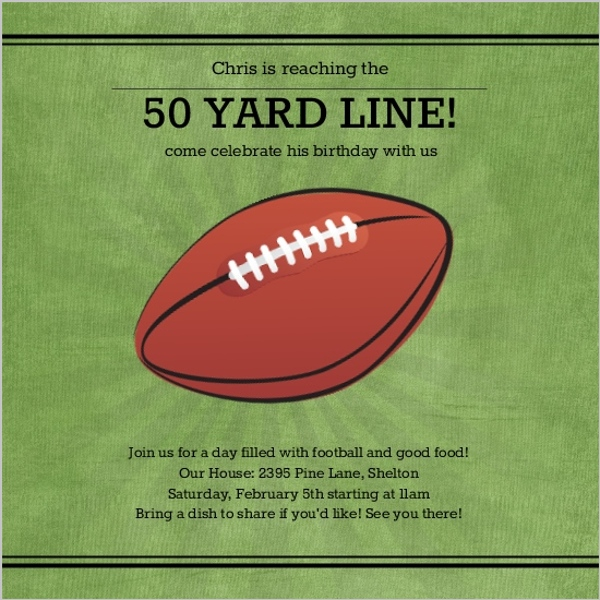 50 Yard Line Football Birthday Party Invitation – Football Party Invites