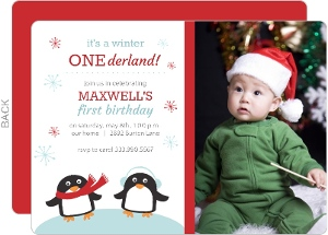 Penguin Winter One-derland First Brithday Invitation