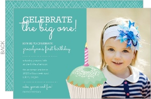 Cupcake with Sprinkles Teal First Birthday Invitation