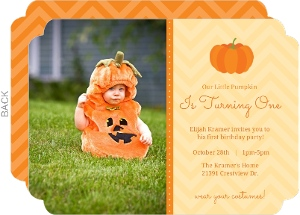 Orange Little Pumpkin First Birthday Invitation