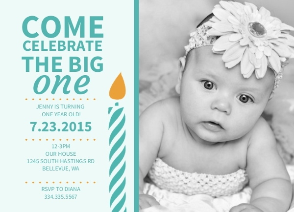 Yellow Big One Turquoise Candle First Birthday Invitation – The Big One Birthday Invitation