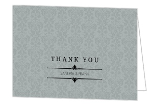 Silver Damask Celebration Anniversary Thank You Card