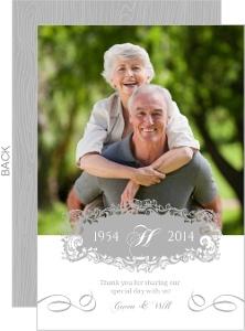 Elegant Gray Monogram Anniversary Thank You Card