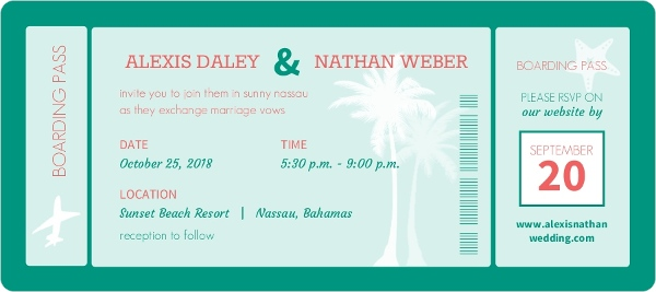 mint boarding pass wedding invitation - Boarding Pass Wedding Invitations
