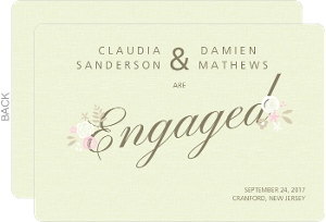 Soft Green Floral Engagement Announcement
