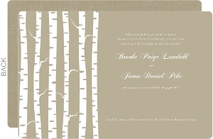 Birch Trees on Taupe Engagement Announcement
